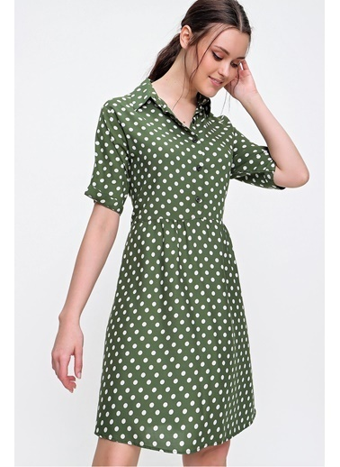 Pink Park Gömlek Yaka Puantiye Desenli Dokuma Viskon Elbise RD00018 Yeşil